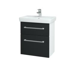Dřevojas - Koupelnová skříň GO SZZ2 55 - N01 Bílá lesk / Úchytka T03 / L03 Antracit vysoký lesk (148386C)