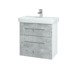 Dřevojas - Koupelnová skříň GO SZZ2 60 - N01 Bílá lesk / Úchytka T03 / D01 Beton (148614C)