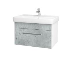 Dřevojas - Koupelnová skříň Q UNO SZZ 70 - N01 Bílá lesk / Úchytka T01 / D01 Beton (150679A)