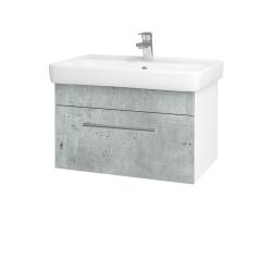 Dřevojas - Koupelnová skříň Q UNO SZZ 70 - N01 Bílá lesk / Úchytka T03 / D01 Beton (150679C)