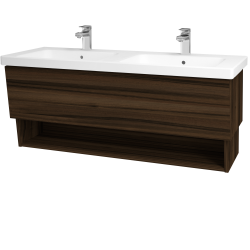 Dřevojas - Koupelnová skříň INVENCE SZZO 125 (dvojumyvadlo Harmonia) - D06 Ořech / D06 Ořech (147730)