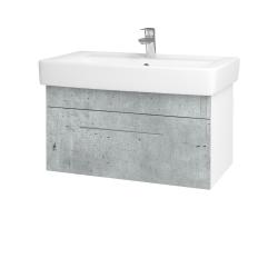 Dřevojas - Koupelnová skříň Q UNO SZZ 80 - N01 Bílá lesk / Úchytka T02 / D01 Beton (150815B)