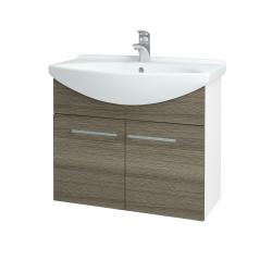 Dřevojas - Koupelnová skříň TAKE IT SZD2 75 - N01 Bílá lesk / Úchytka T02 / D03 Cafe (152031B)