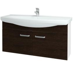 Dřevojas - Koupelnová skříň TAKE IT SZD2 120 - N01 Bílá lesk / Úchytka T01 / D08 Wenge (152345A)