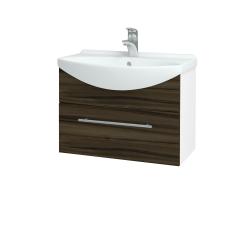Dřevojas - Koupelnová skříň TAKE IT SZZ 65 - N01 Bílá lesk / Úchytka T02 / D06 Ořech (152420B)