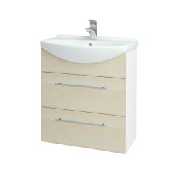Dřevojas - Koupelnová skříň TAKE IT SZZ2 65 - N01 Bílá lesk / Úchytka T02 / D02 Bříza (152833B)
