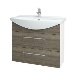 Dřevojas - Koupelnová skříň TAKE IT SZZ2 85 - N01 Bílá lesk / Úchytka T02 / D03 Cafe (153021B)