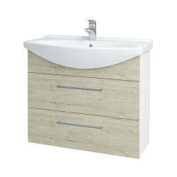 Dřevojas - Koupelnová skříň TAKE IT SZZ2 85 - N01 Bílá lesk / Úchytka T03 / D05 Oregon (153045C)