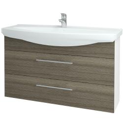 Dřevojas - Koupelnová skříň TAKE IT SZZ2 120 - N01 Bílá lesk / Úchytka T02 / D03 Cafe (153250B)