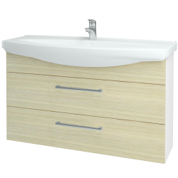 Dřevojas - Koupelnová skříň TAKE IT SZZ2 120 - N01 Bílá lesk / Úchytka T03 / D04 Dub (153267C)