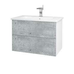 Dřevojas - Koupelnová skříň VARIANTE SZZ2 80 (umyvadlo Euphoria) - N01 Bílá lesk / D01 Beton (160159)