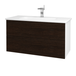 Dřevojas - Koupelnová skříň VARIANTE SZZ2 100 (umyvadlo Euphoria) - N01 Bílá lesk / D08 Wenge (160791)