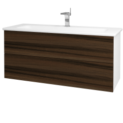 Dřevojas - Koupelnová skříň VARIANTE SZZ2 120 (umyvadlo Euphoria) - N01 Bílá lesk / D06 Ořech (161347)