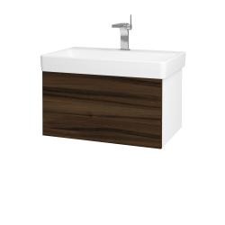Dřevojas - Koupelnová skříň VARIANTE SZZ 70 - N01 Bílá lesk / D06 Ořech (163303)