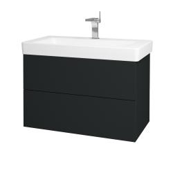 Dřevojas - Koupelnová skříň VARIANTE SZZ2 85 - L03 Antracit vysoký lesk / L03 Antracit vysoký lesk (164065)