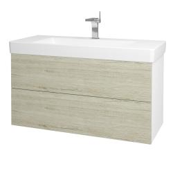 Dřevojas - Koupelnová skříň VARIANTE SZZ2 105 - N01 Bílá lesk / D05 Oregon (164676)