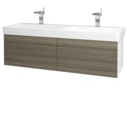 Dřevojas - Koupelnová skříň VARIANTE SZZ2 130 - N01 Bílá lesk / D03 Cafe (164935)