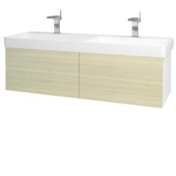 Dřevojas - Koupelnová skříň VARIANTE SZZ2 130 - N01 Bílá lesk / D04 Dub (164942)