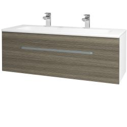 Dřevojas - Koupelnová skříň ASTON SZZ 120 - N01 Bílá lesk / Úchytka T01 / D03 Cafe (131111AU)