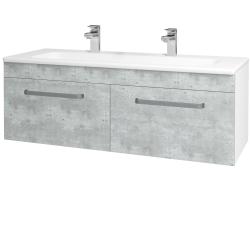 Dřevojas - Koupelnová skříň ASTON SZZ2 120 - N01 Bílá lesk / Úchytka T01 / D01 Beton (131166AU)