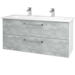 Dřevojas - Koupelnová skříň GIO SZZ2 120 - N01 Bílá lesk / Úchytka T03 / D01 Beton (129897CU)