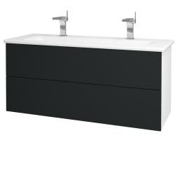 Dřevojas - Koupelnová skříň VARIANTE SZZ2 120 (umyvadlo Euphoria) - N01 Bílá lesk / L03 Antracit vysoký lesk (161408U)