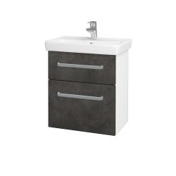Dřevojas - Koupelnová skříň GO SZZ2 55 - N01 Bílá lesk / Úchytka T01 / D16 Beton tmavý (204693A)