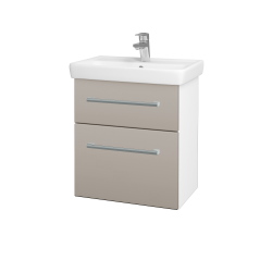 Dřevojas - Koupelnová skříň GO SZZ2 55 - N01 Bílá lesk / Úchytka T03 / N07 Stone (204747C)