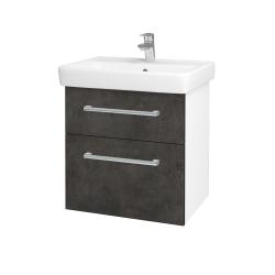Dřevojas - Koupelnová skříň Q MAX SZZ2 60 - N01 Bílá lesk / Úchytka T03 / D16 Beton tmavý (198183C)