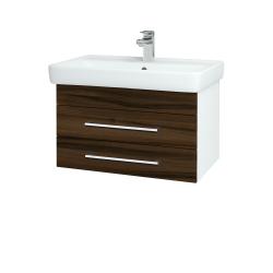 Dřevojas - Koupelnová skříň Q ZÁSUVKOVÉ SZZ2 70 - N01 Bílá lesk / Úchytka T03 / D06 Ořech (151867C)