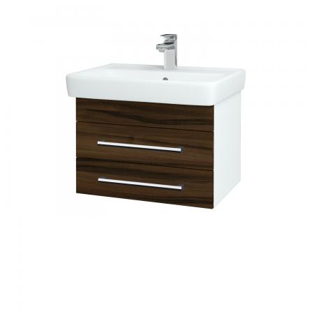 Dřevojas - Koupelnová skříň Q ZÁSUVKOVÉ SZZ2 60 - N01 Bílá lesk / Úchytka T03 / D06 Ořech (151836C)