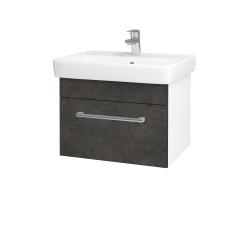 Dřevojas - Koupelnová skříň Q UNO SZZ 60 - N01 Bílá lesk / Úchytka T03 / D16 Beton tmavý (208523C)