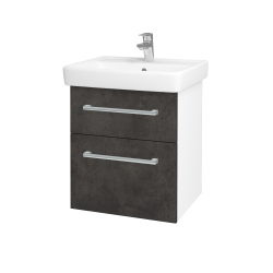 Dřevojas - Koupelnová skříň Q MAX SZZ2 55 - N01 Bílá lesk / Úchytka T03 / D16 Beton tmavý (198046C)