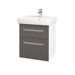 Dřevojas - Koupelnová skříň Q MAX SZZ2 55 - N01 Bílá lesk / Úchytka T01 / N06 Lava (198091A)