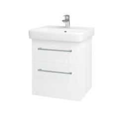Dřevojas - Koupelnová skříň Q MAX SZZ2 55 - N01 Bílá lesk / Úchytka T03 / M01 Bílá mat (198060C)