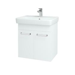 Dřevojas - Koupelnová skříň Q DVEŘOVÉ SZD2 60 - N01 Bílá lesk / Úchytka T01 / L01 Bílá vysoký lesk (12734A)