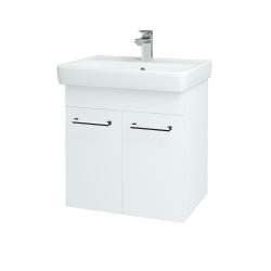 Dřevojas - Koupelnová skříň Q DVEŘOVÉ SZD2 60 - N01 Bílá lesk / Úchytka T03 / L01 Bílá vysoký lesk (12734C)
