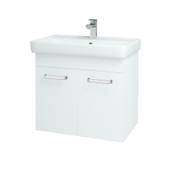 Dřevojas - Koupelnová skříň Q DVEŘOVÉ SZD2 70 - N01 Bílá lesk / Úchytka T01 / L01 Bílá vysoký lesk (12635A)