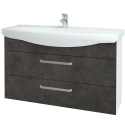 Dřevojas - Koupelnová skříň TAKE IT SZZ2 120 - N01 Bílá lesk / Úchytka T01 / D16 Beton tmavý (208141A)