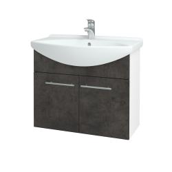 Dřevojas - Koupelnová skříň TAKE IT SZD2 75 - N01 Bílá lesk / Úchytka T02 / D16 Beton tmavý (206062B)