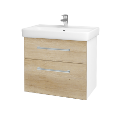 Dřevojas - Koupelnová skříň Q MAX SZZ2 70 - N01 Bílá lesk / Úchytka T03 / D15 Nebraska (198404C)