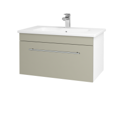 Dřevojas - Koupelnová skříň ASTON SZZ 80 - N01 Bílá lesk / Úchytka T02 / M05 Béžová mat (199364B)