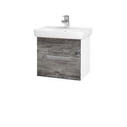 Dřevojas - Koupelnová skříň SOLO SZZ 50 - N01 Bílá lesk / Úchytka T01 / D10 Borovice Jackson (205300A)