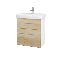 Dřevojas - Koupelnová skříň GO SZZ2 55 - N01 Bílá lesk / Úchytka T02 / D15 Nebraska (204686B)