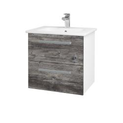 Dřevojas - Koupelnová skříň GIO SZZ2 60 - N01 Bílá lesk / Úchytka T01 / D10 Borovice Jackson (146245A)