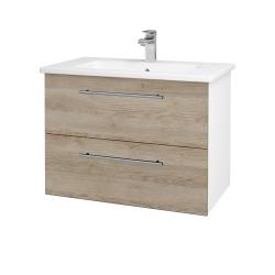 Dřevojas - Koupelnová skříň GIO SZZ2 80 - N01 Bílá lesk / Úchytka T02 / D17 Colorado (202194B)