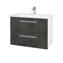 Dřevojas - Koupelnová skříň GIO SZZ2 80 - N01 Bílá lesk / Úchytka T01 / D16 Beton tmavý (202187A)