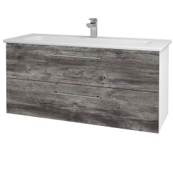 Dřevojas - Koupelnová skříň GIO SZZ2 120 - N01 Bílá lesk / Úchytka T02 / D10 Borovice Jackson (129972B)