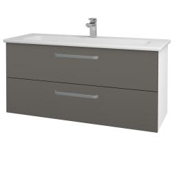 Dřevojas - Koupelnová skříň GIO SZZ2 120 - N01 Bílá lesk / Úchytka T01 / N06 Lava (203009A)