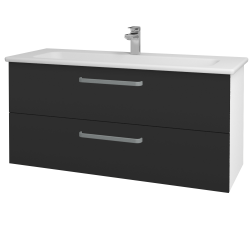 Dřevojas - Koupelnová skříň GIO SZZ2 120 - N01 Bílá lesk / Úchytka T01 / N03 Graphite (202996A)
